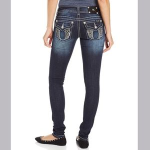 Miss me jeans bling flap skinny angel wing jeans